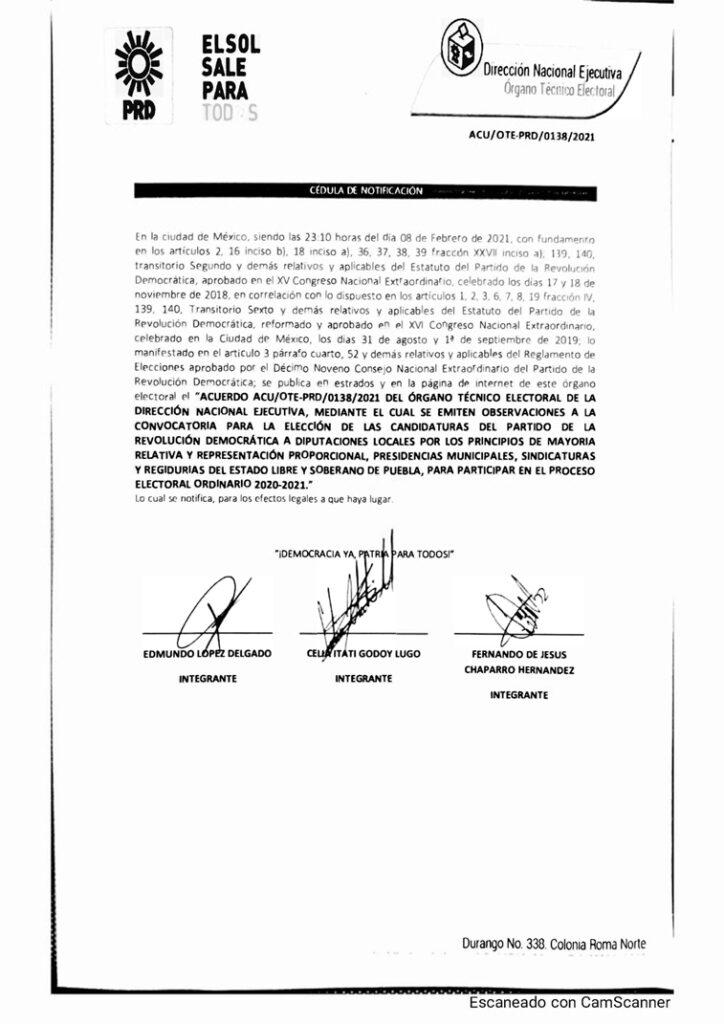 ACU OTE-PRD 0138 2021 Observaciones Puebla